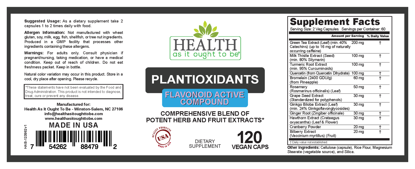HAIOTB Plantioxidants - 120 Vegan Capsules - Health As It Ought to Be