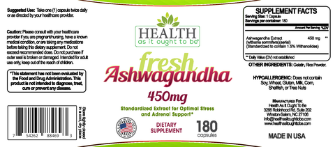 HAIOTB Ashwagandha 450 mg - 180 Capsules - Health As It Ought to Be