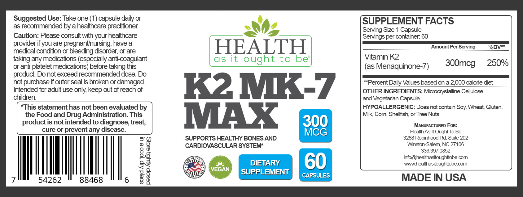 HAIOTB REFORMULATED High Dose Vitamin K2 MK7 MAX 300 mcg - 60 Vegan Capsules - Health As It Ought to Be