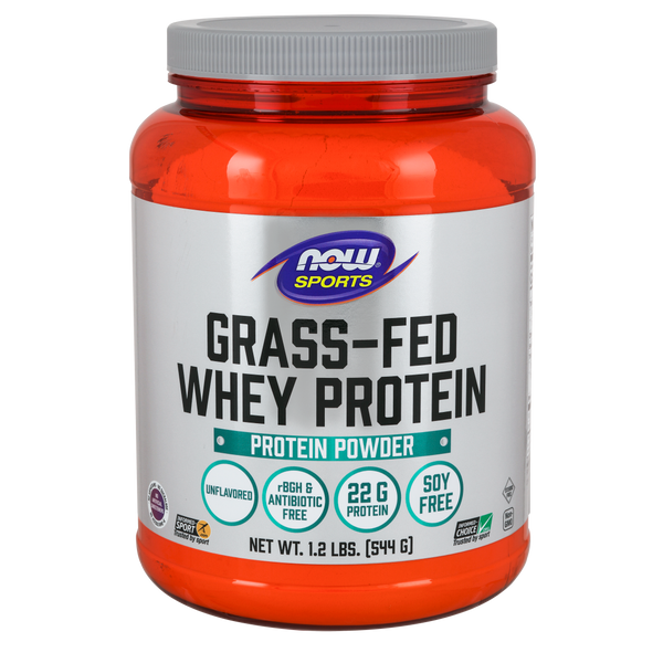 Now Foods Grass Fed Whey Protein, Unflavored - 1.2 lbs. - Health As It Ought to Be