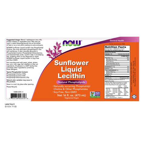Now Foods Sunflower Lecithin - 16 fl. oz. - Health As It Ought to Be
