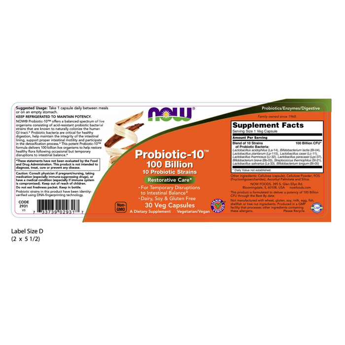 Now Foods Probiotic-10™ 100 Billion - 30 Veg Capsules - Health As It Ought to Be