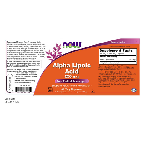 Now Foods Alpha Lipoic Acid 250 mg - 60 Veg Capsules - Health As It Ought to Be