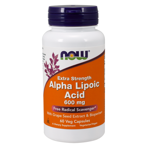 Now Foods Alpha Lipoic Acid Extra Strength 600 mg- 60 Veg Capsules