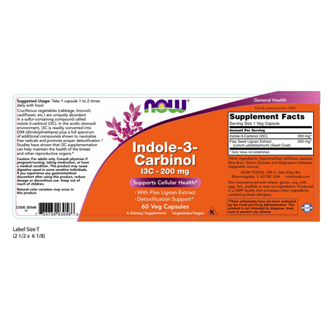 Now Foods Indole-3-Carbinol (I3C) 200 mg - 60 Veg Capsules - Health As It Ought to Be