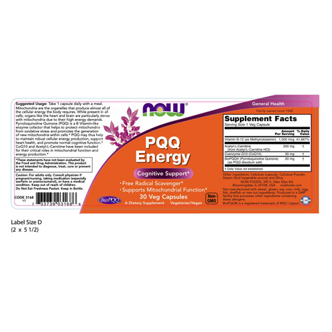 Now Foods PQQ Energy - 30 Veg Capsules - Health As It Ought to Be