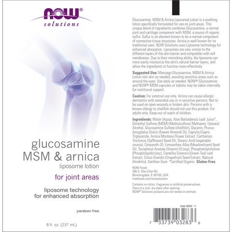 Now Foods Glucosamine, MSM & Arnica Liposome Lotion - 8 fl. oz. - Health As It Ought to Be