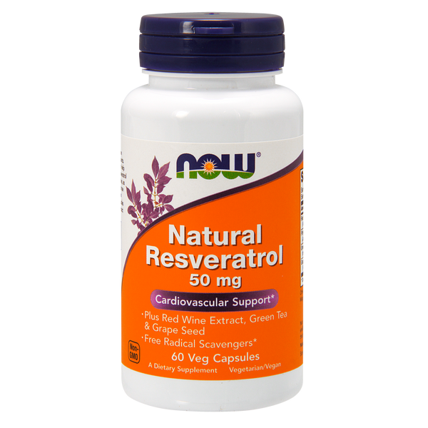Now Foods Natural Resveratrol 50 mg - 60 Veg Capsules