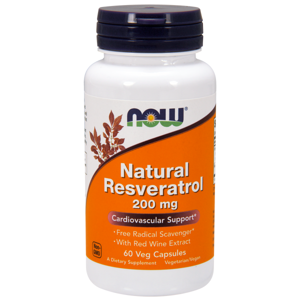 Now Foods Natural Resveratrol 200 mg - 60 Veg Capsules - Health As It Ought to Be