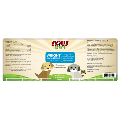 Now Foods Pet Weight Management for DOGS - 90 Chewable Tablets - Health As It Ought to Be
