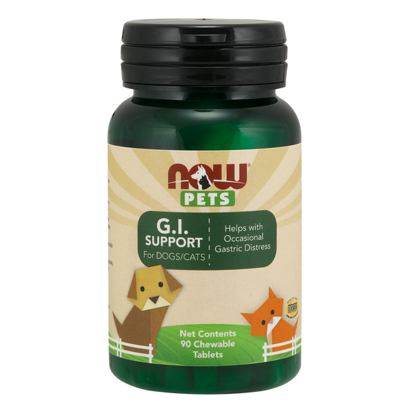 Now Foods Pet GI Support for DOGS/CATS - 90 Chewable Tablets - Health As It Ought to Be
