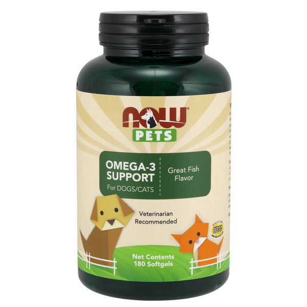 Now Foods Pet Omega 3 Support for DOGS/CATS - 180 Softgels for Pets - Health As It Ought to Be