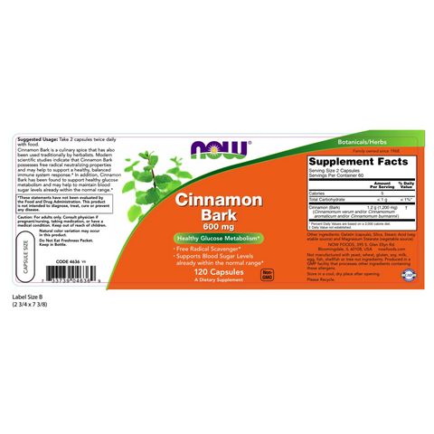 Now Foods Cinnamon Bark 600 mg - 120 Capsules - Health As It Ought to Be