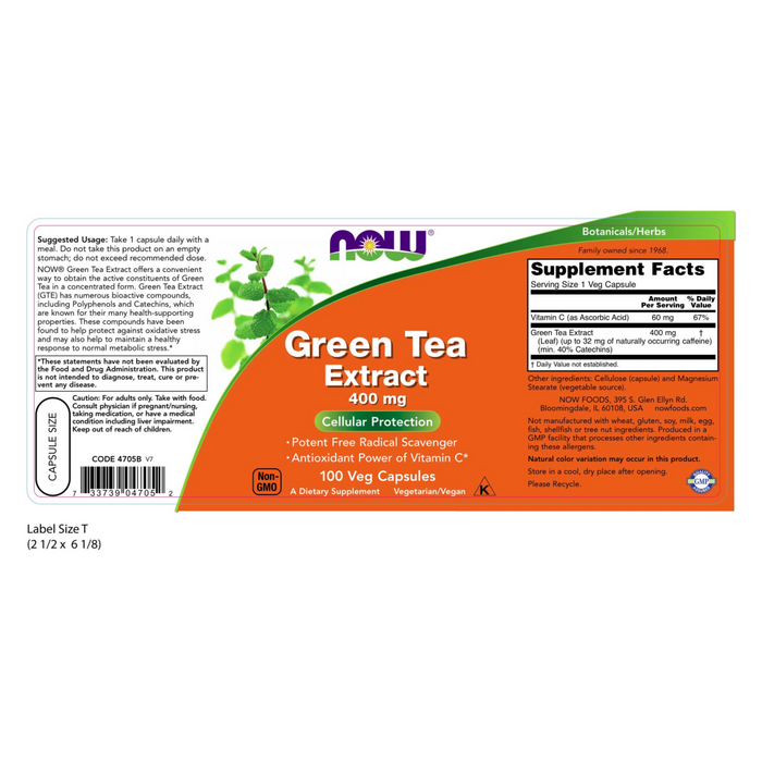 Now Foods Green Tea Extract 400 mg - 100 Veg Capsules - Health As It Ought to Be