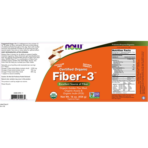 Now Foods Fiber-3 Organic - 16 oz. - Health As It Ought to Be