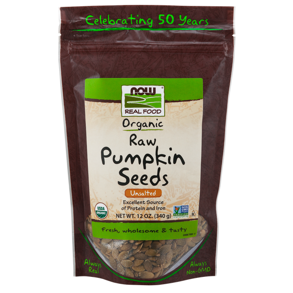 Now Foods Pumpkin Seeds Unsalted, Raw Organic - 12oz - Health As It Ought to Be