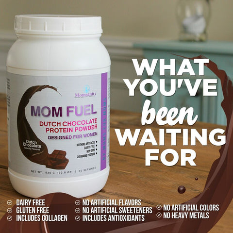 Momsanity Mom Fuel Protein Powder DUTCH CHOCOLATE - Health As It Ought to Be