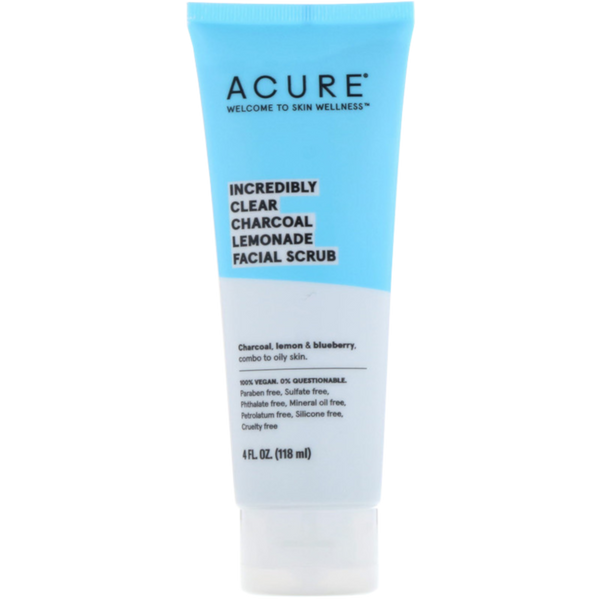 Acure Incredibly Clear Charcoal Lemonade Facial Scrub - 4 fl oz. - Health As It Ought to Be