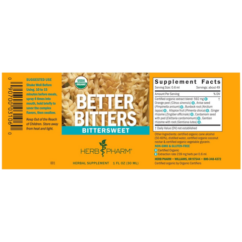 Herb Pharm Better Bitters:™ Bittersweet - 1 fl. oz. - Health As It Ought to Be