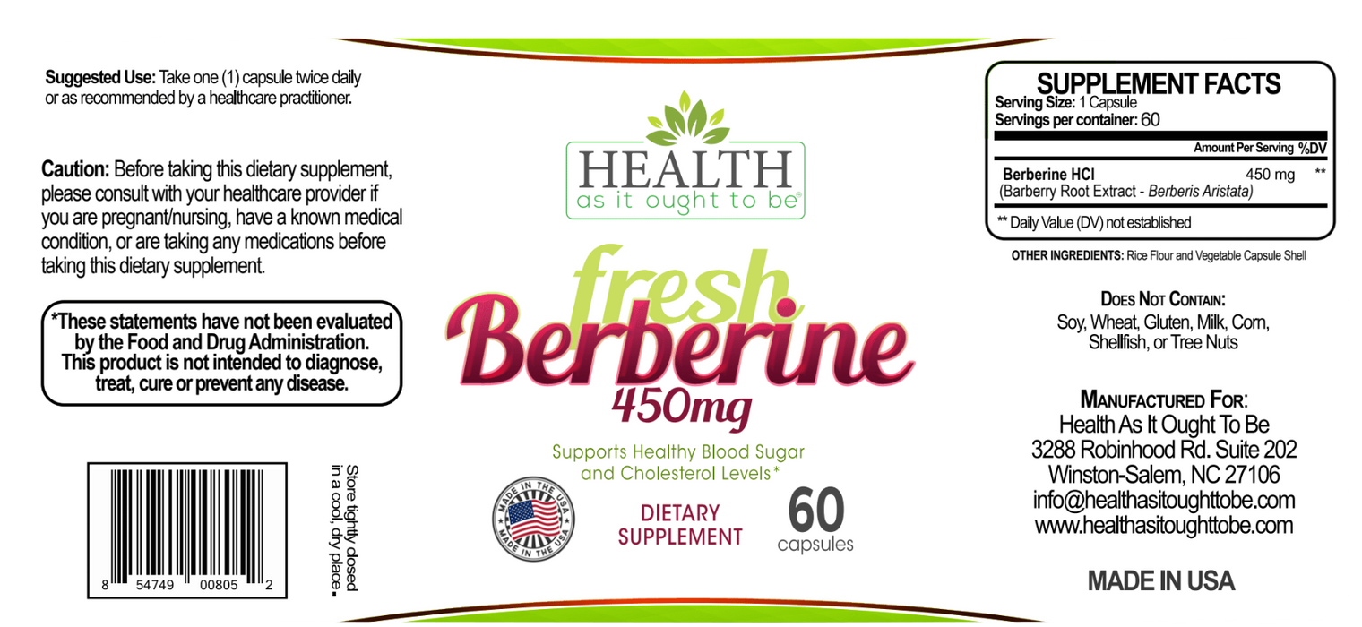 HAIOTB Berberine 450 mg - 60 Capsules - Health As It Ought to Be