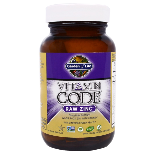 Garden of Life Vitamin Code® RAW Zinc 30 mg - 60 Vegan Capsules - Health As It Ought to Be