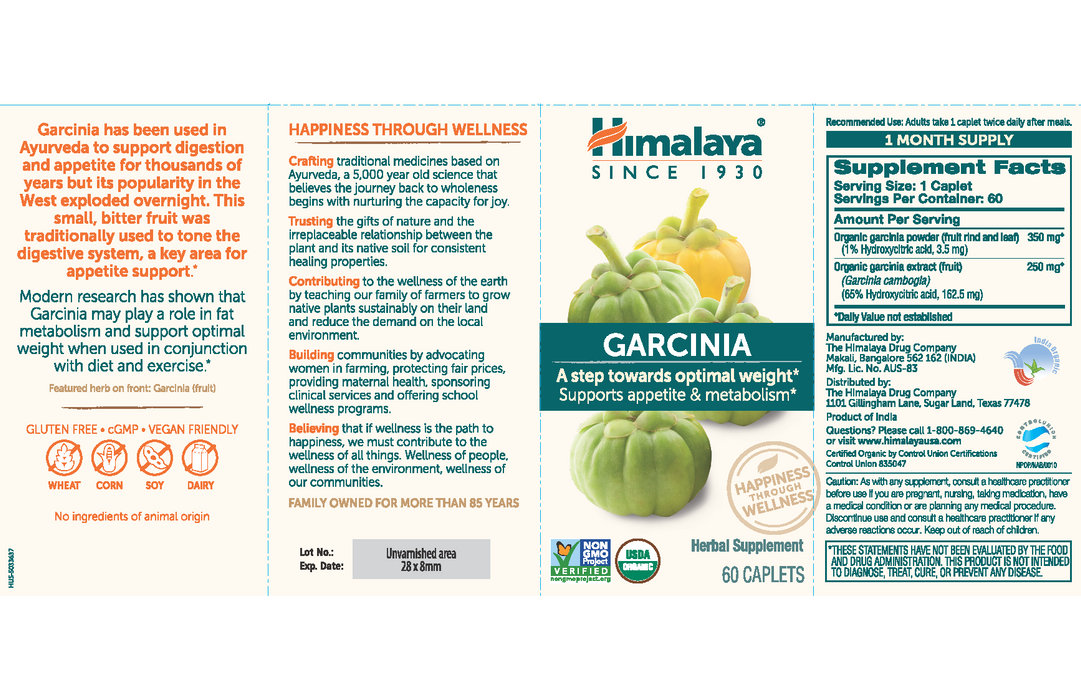 Himalaya Herbal Healthcare Garcinia 600 mg - 60 Caplets - Health As It Ought to Be