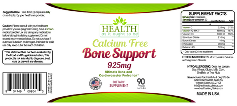 HAIOTB Calcium Free Bone Support 925 mg - 90 Capsules - Health As It Ought to Be