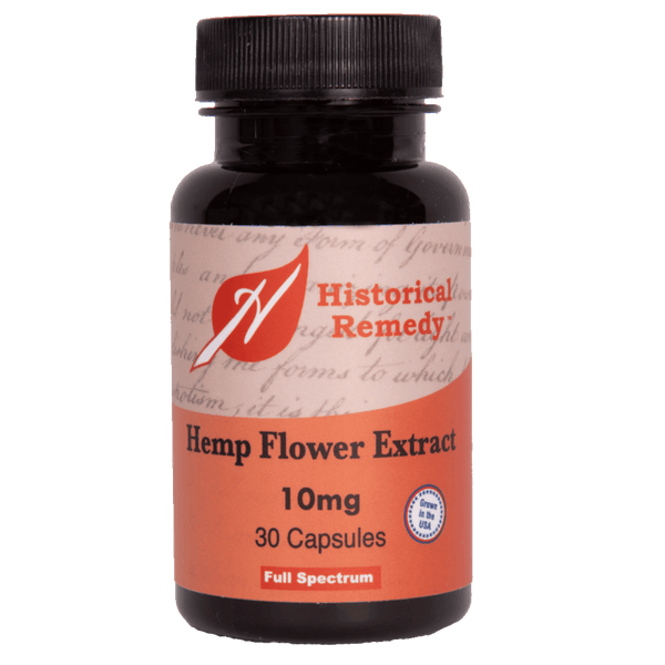 Historical Remedy Hemp Flower Extract 10 mg - 30 Capsules - Health As It Ought to Be