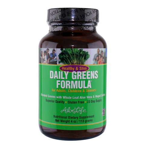 Aloe Life Healthy and Slim Daily Greens Formula Powder - 4 oz. - Health As It Ought to Be