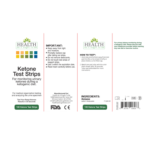 5 Pack of HAIOTB Ketox Ketone Test Strips - 100 Ketone Strips per Box - Health As It Ought to Be