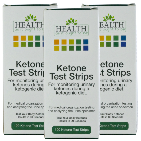 3 Pack of HAIOTB Ketox Ketone Test Strips - 100 Ketone Strips per Box - Health As It Ought to Be