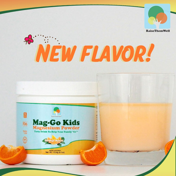 Raise Them Well Mag Go Kids -  Kid Safe Magnesium Powder (Orange Burst) - 5.8 oz. - Health As It Ought to Be