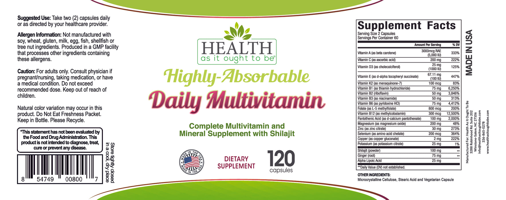 HAIOTB Highly-Absorbable Daily Multivitamin - 120 Capsules
