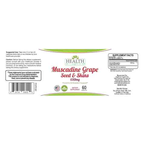 HAIOTB Muscadine Grape Seed & Skins 650 mg - 60 Capsules - Health As It Ought to Be
