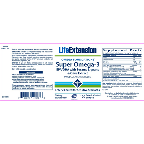 Life Extension Super Omega-3 2000 mg per 2 Softgels - 120 Enteric Coated Softgels - Health As It Ought to Be