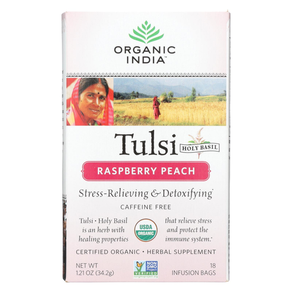 Organic India Tulsi Raspberry Peach - 18 Infusion Bags