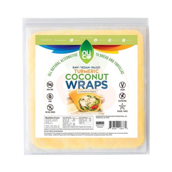 Nuco Organic Coconut Wraps Turmeric- 5 Wraps - Health As It Ought to Be