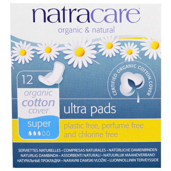 Natracare Organic Ultra Pads, Super- 12 Pads - Health As It Ought to Be