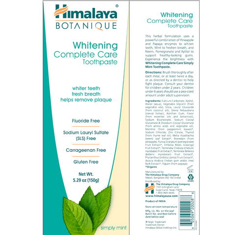 Himalaya Herbal Healthcare Simply Mint Whitening Toothpaste - 5.29 oz. - Health As It Ought to Be