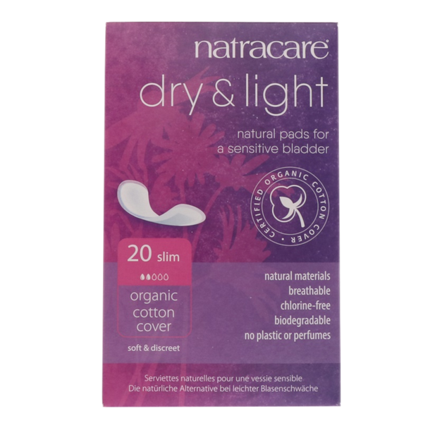 Natracare Dry & Light 20 Slim - 20 Pads - Health As It Ought to Be