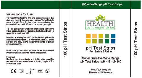 HAIOTB PH Test Strips 100 Count - Health As It Ought to Be
