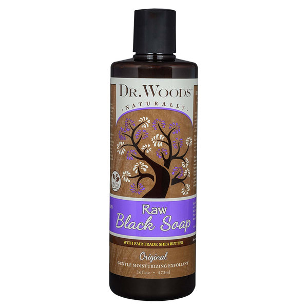 Dr. Woods Raw Black Soap with Fair Trade Organic Shea Butter - 16 fl oz. - Health As It Ought to Be