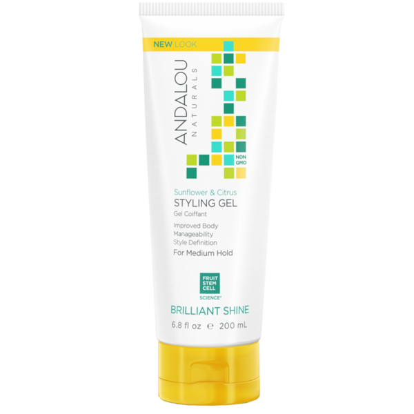 Andalou Naturals Sunflower & Citrus Brilliant Shine Styling Gel - 6.8 fl oz. - Health As It Ought to Be