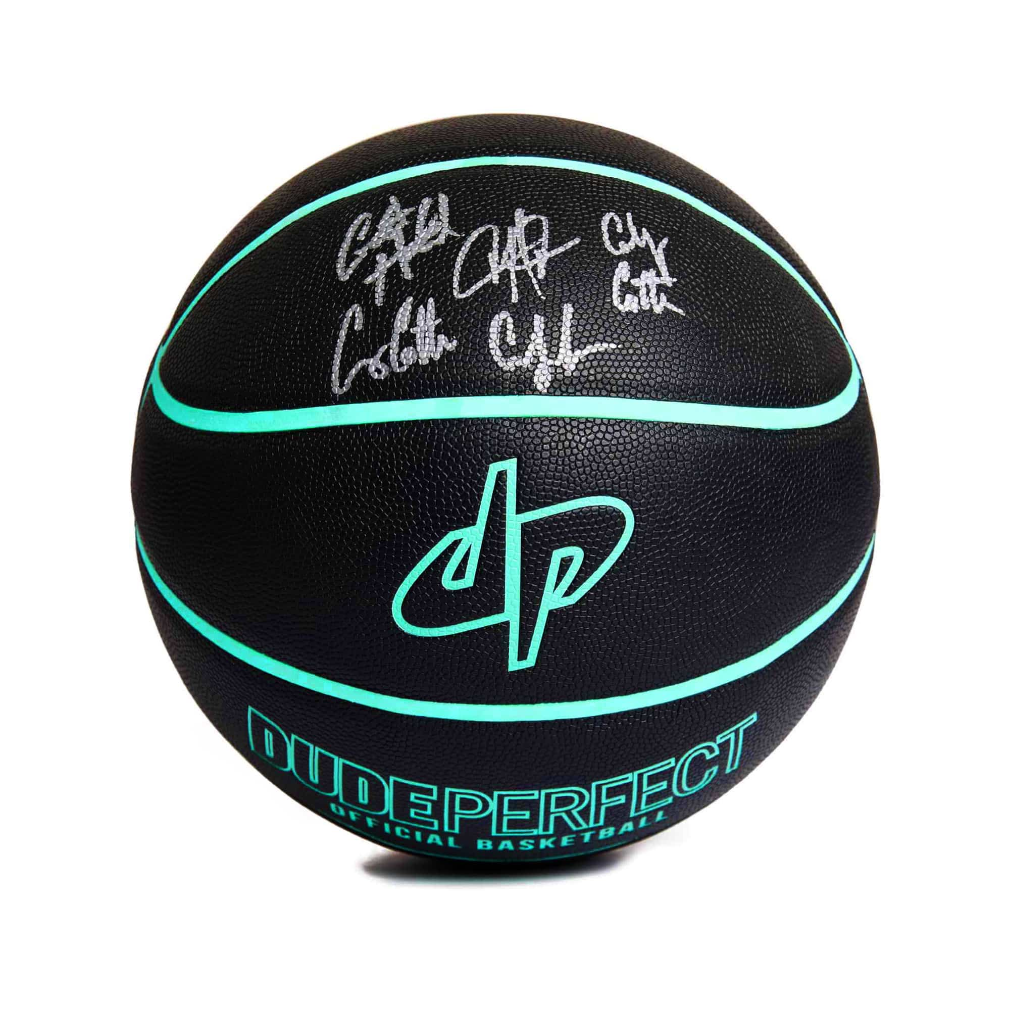 Dude Perfect Official Basketball // Black + Green - SIGNED