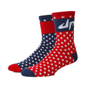 Stars and Stripes 5 Sock - Red, White, and Blue