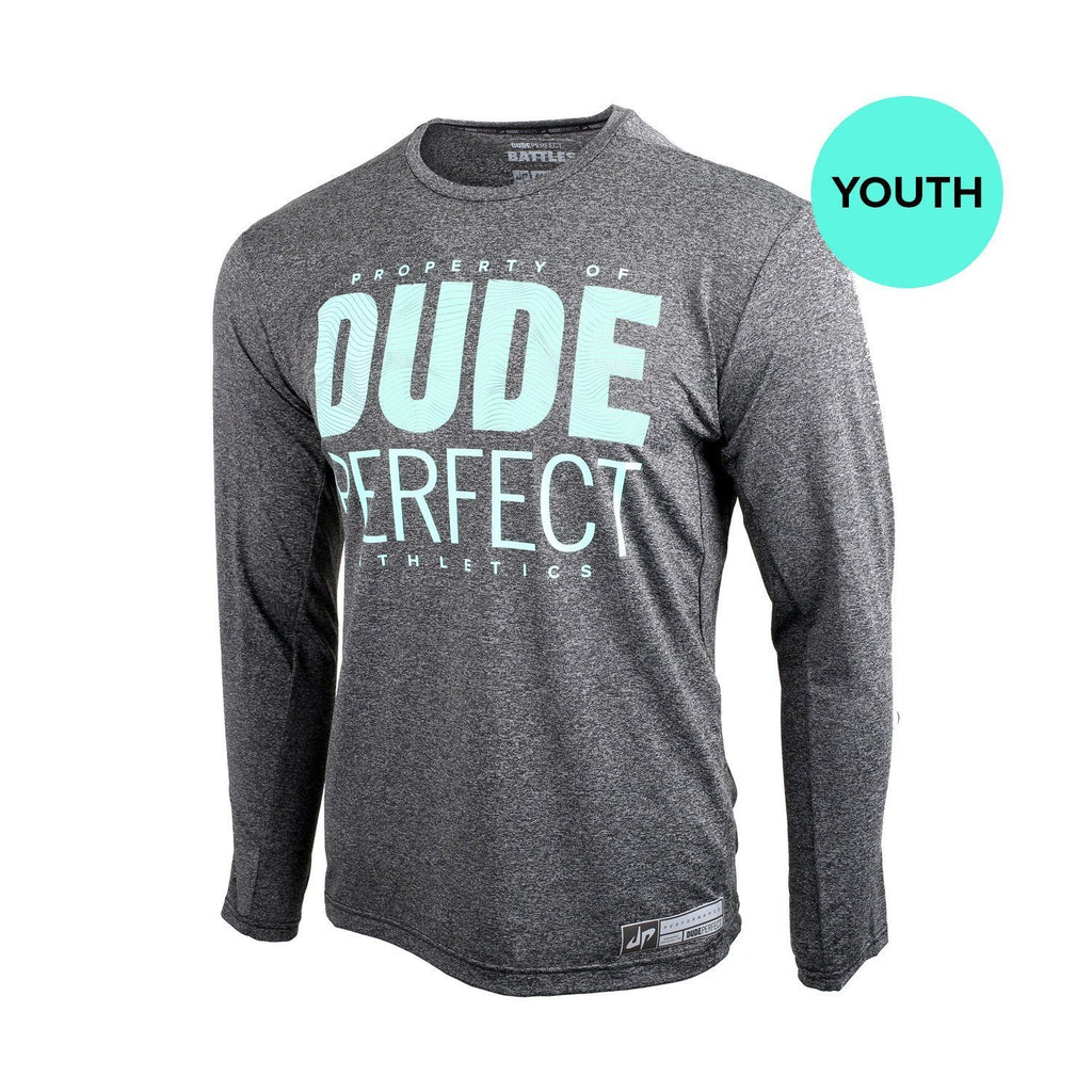Youth Battles Charcoal Long Sleeve Property Of Performance Tee
