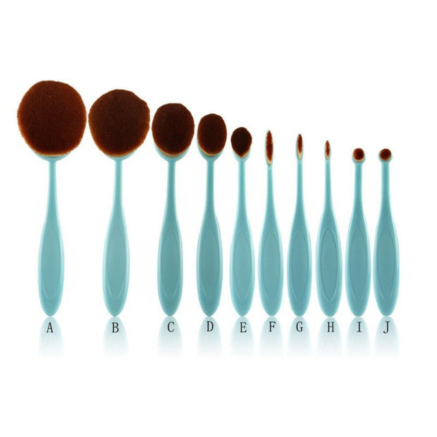 10 Green Professional Grade Oval Make Up Brushes! 50% Off!