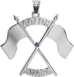 Color Guard Double Flag Charm | Sterling Silver - ColorGuard Gifts - 1