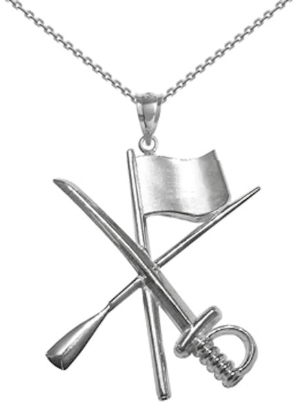 Color Guard Flag Rifle Saber Necklace in Silver with Free T-Shirt - ColorGuard Gifts - 1