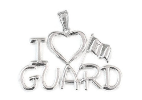 I Love GUARD Charm for Color Guard | Silver - ColorGuard Gifts - 1